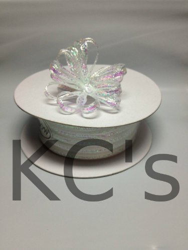 "1/8"" 50 Yards White Organza Iridescent Center with String Pull Ribbon Bow"