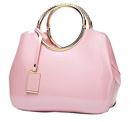 Yan Messenger ¨¤ shell ¨¤ Nouveau sac Show main bandouli¨¨re Rose en cuir sac Femmes sac brevet rTrUq