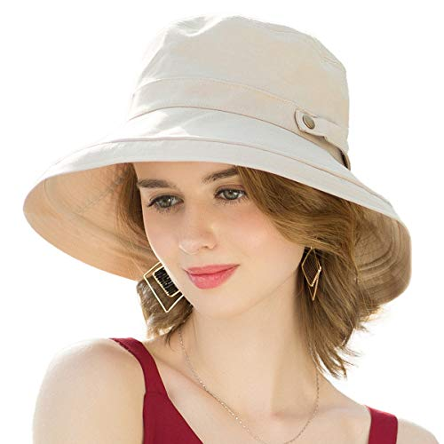 SOMALER Womens Cotton Wide Brim Sun Hats UPF50 UV Packable Beach Hat Summer Bucket Cap for Travel Beige