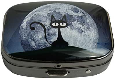 PTCRMG Black cat on a Beautiful Night with Full Moon Image Custom Unique Pill Box Case Tablet Medicine Pocket Purse Travel Pill Vitamin Decorative Box Case Holder