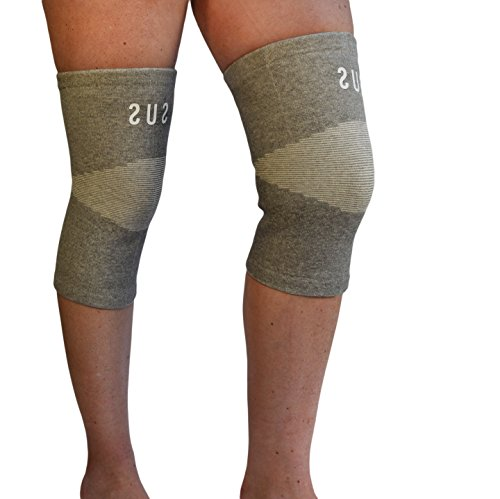 2 Comfort Knee Compression Sleeves By Susama - Medium / Large - #1 Meniscus Support and Patella Stabilizer for Men & Women. Perfect Knee Workout Brace for Basketball, Running, Weightlifting & Crossfit
