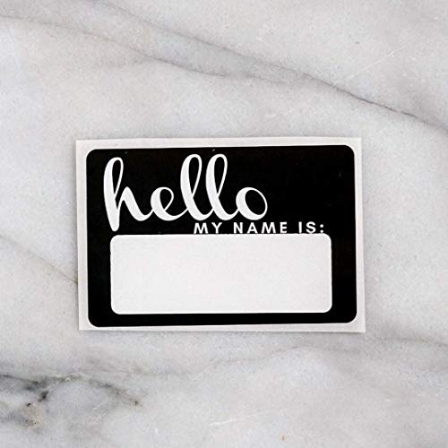 (Hello, My Name is Baby Announcement Sticker Swaddle Blanket Newborn Name tag Reveal Hospital Photo Coming Home Black ... (Black))