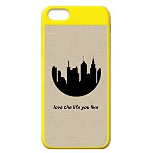 Generic Customize Unique Otterbox--City Silhouette Plastic Yellow and Salmon Case Cover for iPhone5C