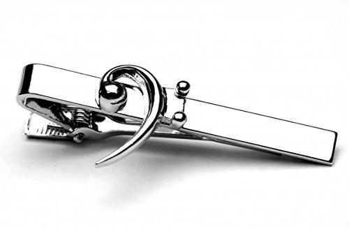 Bass Clef Music Symbol Silver Tie Clip In Presentation Box