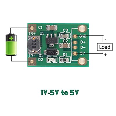 Icstation Mini DC to DC Voltage Regulator Step Up Boost Converter Power Supply Module 1V-5V to 5V 500mA (Pack of 5): Home Audio & Theater