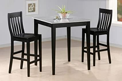 Superbe 3pc Black Finish Faux Marble Top Bar Table U0026 2 Stool Set