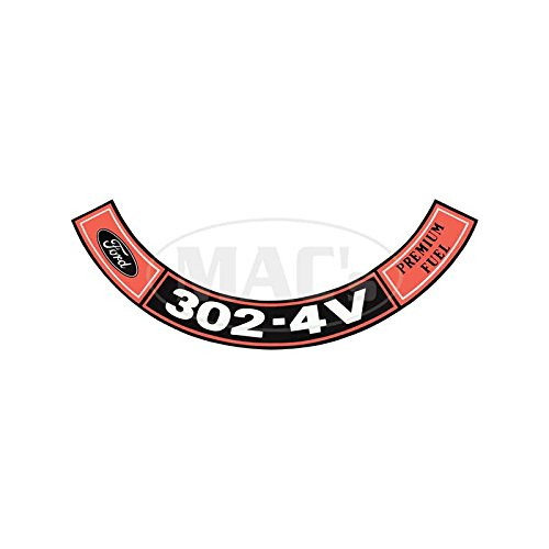 1968 Air Cleaner Decal - MACs Auto Parts 44-47047 Ford Mustang Air Cleaner Decal - 302-4V Premium Fuel