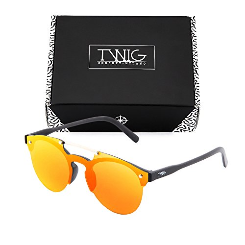 hombre Gafas de TWIG degradadas Naranja HOKUSAI espejo sol Negro mujer rFaaqxYw
