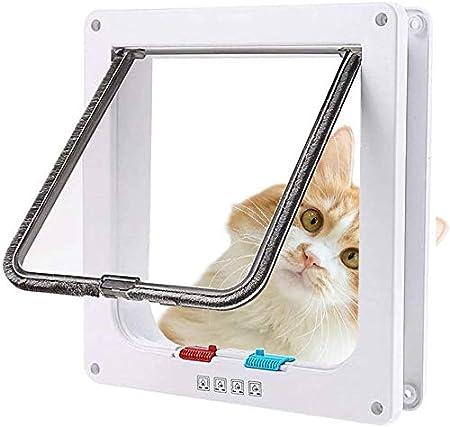 Sailnovo Puerta para Gato con Cierre magnético de 4 vías, Puerta para Mascotas para Gatos y Perros pequeños, Puerta para Gatos con túnel XL Blanco 20 x 22 x 5.5 cm