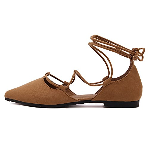 Meeshine Womens DOrsay Pointy Toe Ankle Strap Wrap Ballet Flats Lace Up Flat Shoes Brown 0mfRTABqie