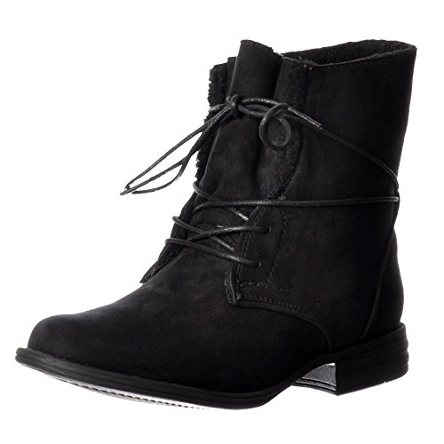 Ella Womens Ladies Short Lace Up Synthetic Fur Lined Flat Suede Ankle Boot - Black, Dark Brown Negro