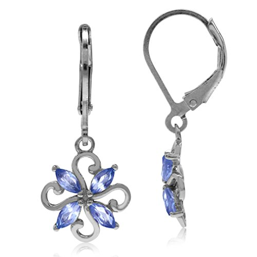 Genuine Tanzanite 925 Sterling Silver Victorian Style Flower Leverback Earrings