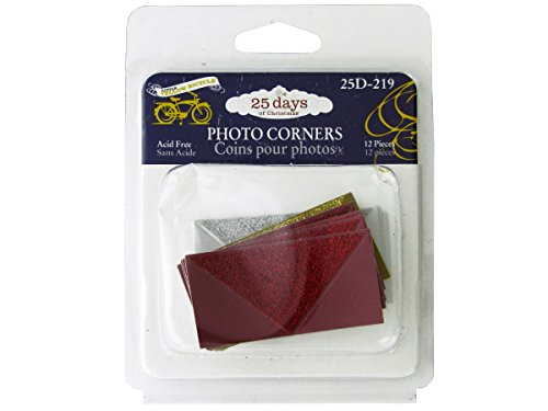 Christmas Glitter Photo Corners-Package Quantity,96 by bulk buys