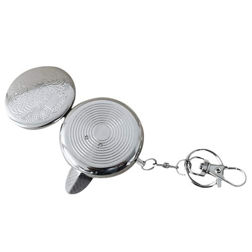 MuYiYi11 Portable Stainless Steel Pendant Round Ashtray Mini Size with Keychain for Adult Pattern Sent -