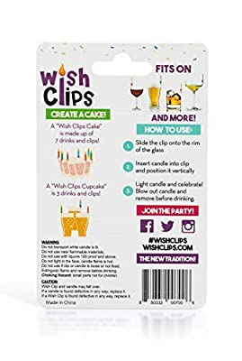 Wish Clips Birthday Candles for Drinks | 15 Colored Candles and Clips | Unique Happy Birthday Cake Candles | Beer Wine Accessories Surprise Gifts for Women Men Fun Bachelorette Party Cups Drink Marker