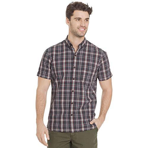 G.H. Bass & Co. Men's Summit Creek Seersucker Short Sleeve Button Down Plaid Shirt
