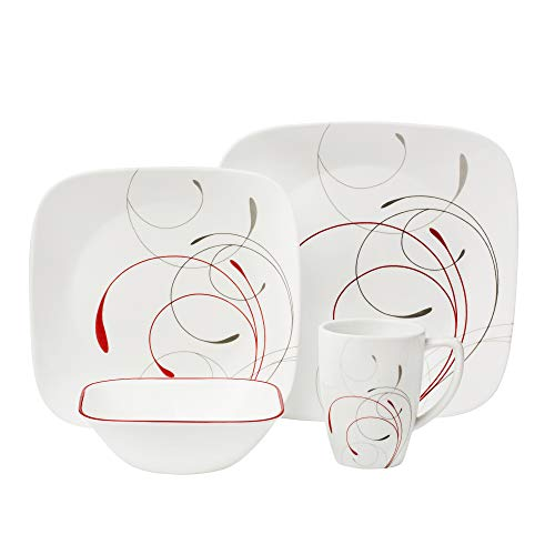 Corelle Square 16-Piece Dinnerware Set, Splendor, Service for 4 (Square 16 Set Dinnerware Piece)
