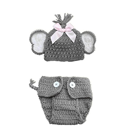 Shybuy 2pcs Newborn Baby Elephant Stretchy Knit Photo Baby Hat+Shorts Costume Set Photography Propsography Props (A)