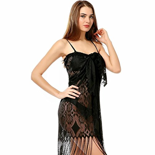 YJYdada Women Bathing Bikini Swimsuit Tassel Lace Hollow Shawl Swimsuit Blouse Cover Up (Black) Underwire Bras N Skirt