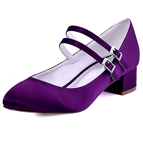 ElegantPark FC1615 Women Closed Toe Chunky Heel Mary Jane Pumps Satin Evening Wedding Dress Shoes Purple US 7 ()