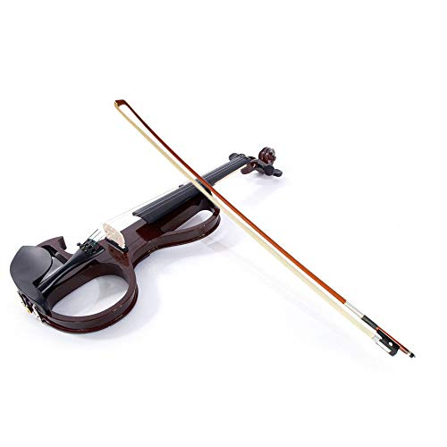 GHP Brown Basswood & Metal 4/4 8-Pattern Electroacoustic Violin with Case Bow & Rosin by Globe House Products
