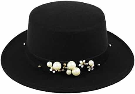 f6700df67c381 Summerwhisper Women s Men s Wool Pearl Fat Pork Pie Top Hat Cap Unisex