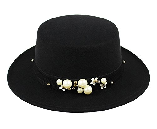 [Summerwhisper Women's Men's Wool Pearl Fat Pork Pie Top Hat Cap Unisex Black] (Pork Pie Hat For Sale)