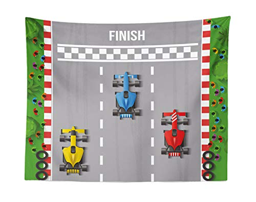 Team Graphic Race - Lunarable Nursery Tapestry, Car Race Formula One Automobiles Competition Winner Champion Speed Team Graphic, Fabric Wall Hanging Decor for Bedroom Living Room Dorm, 28 W X 23 L Inches, Multicolor