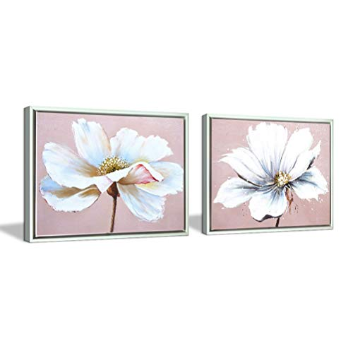 Flower Wall Art Decor Modern Framed Floral Canvas Painting Picture with Hand Painted Texture for Living Room Bedroom Bathroom Girl Room White and Pink 12x16 x 2 Piece/Set