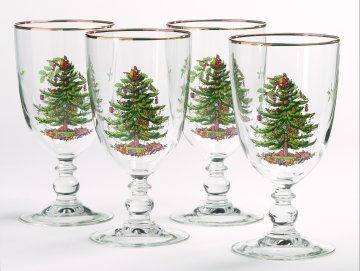 Trim Water Goblet - Spode Christmas Tree Pedestal Goblets with Gold Rims, Set of 4