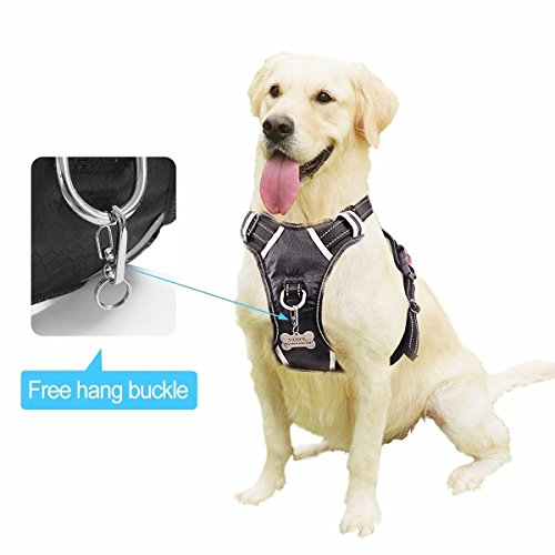 WINSEE Dog harness, no-pull comfort pet vest harness safety Adjustable dog vest harness for large dogs Reflective Oxford Material Easy Control Harness black by WINSEE