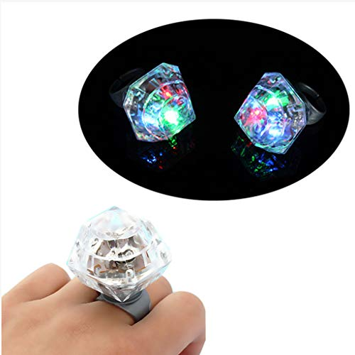 Volity Livoty Birthday Party Favors for Kids Prizes Flashing LED Jelly Light Up Rings Toys Bulk Boys Girls Gift Blinky Glow in The Dark Party Supplies - 2Pack ()