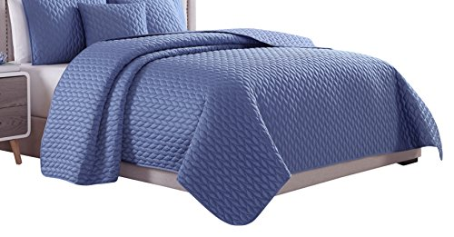 Squares Coverlet Satin (Cozy Beddings Escape Coverlet, King/Cal-King, Blue)