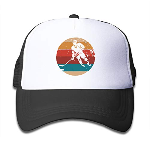 (Vintage Retro Ice Hockey Player Kids Adjustable Baseball Mesh Caps Youth Trucker Hats Black)
