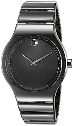 Movado Museum Mens - Movado Men's Swiss Quartz Ceramic Casual Watch, Color:Black (Model: 0607047)