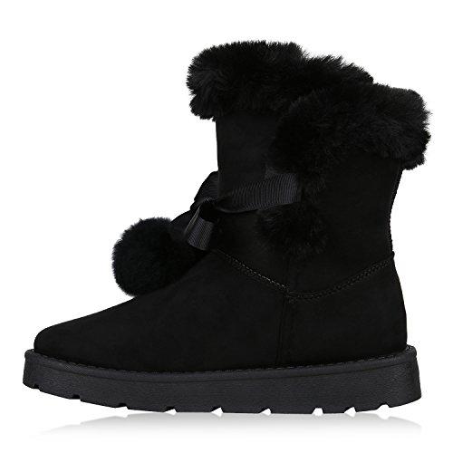 Stiefelparadies Damen Stiefeletten Warm Gefütterte Schlupfstiefel Schleifen Schuhe Flandell Schwarz Amares