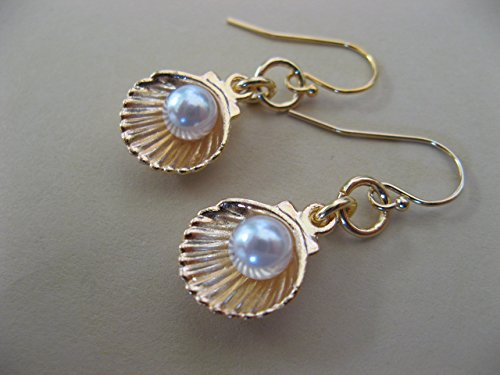 Golden Mixed Metals Shell and Faux Pearl Earrings on Gold Filled Earring Wires Beach Sea Artisan Jewelry