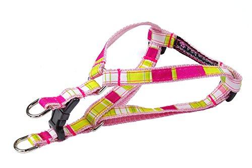"Sassy Dog Wear 1/2"" x 8""-16"" Stripe Dog Harness, X-Small, Neon Pink/Multicolor"