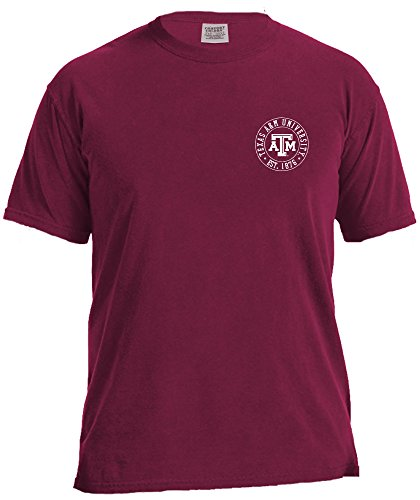 (NCAA Texas A&M Aggies Campus Building Short Sleeve Comfort Color Tee, Small,AggieWine)