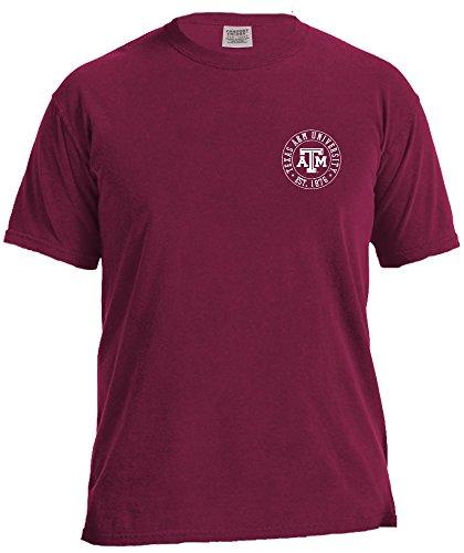 NCAA Texas A&M Aggies Campus Building Short Sleeve Comfort Color Tee, Medium,AggieWine