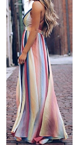 Women Striped Spell Sexy Coolred Neck Gown Dress Color Swing Open Ball Cocktail V Stylish Back Deep Pattern1 dxwqqXvS