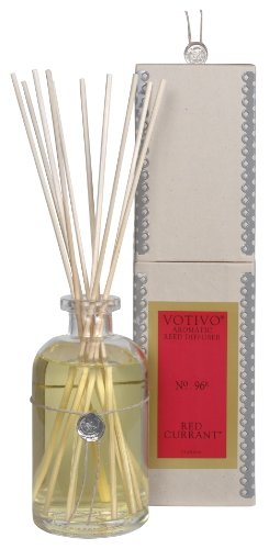 Votivo Aromatic Reed Diffuser, 7.3 fl. oz./216 ml, Red (Currant Candle Scent)