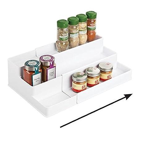 mDesign Gewürzregal für Küchenschrank und Arbeitsfläche – ausziehbarer  Gewürzständer aus Kunststoff für Ordnung in der Küche – praktischer ...