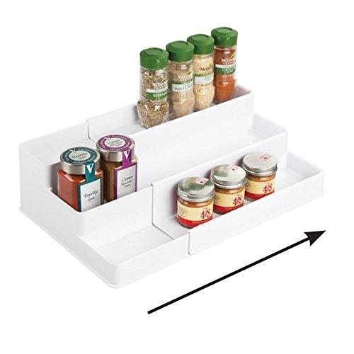 (mDesign Adjustable, Expandable Kitchen Cabinet, Pantry, Shelf Organizer/Spice Rack - 3 Level Storage: Food Safe, BPA Free - Up to 20