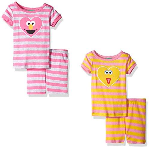 9bb8ca8f58 Sesame Street Toddler Girls  Big Bird Elmo 4pc Pajama Short - Import ...