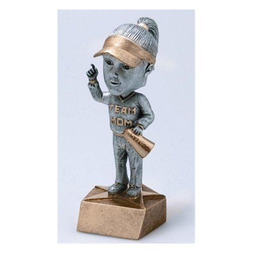 Team Mom Bobblehead Trophy with 3 lines of custom - Mom Head Bobble Team