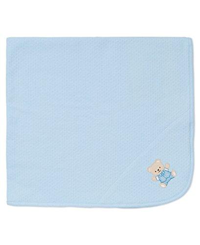 Little Me Baby Boys' Cute Bear Blanket, Light Blue, One (Boys Bear)