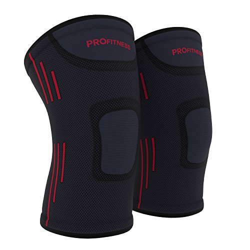 (ProFitness Knee Sleeves (One Pair) Knee Support for Joint Pain & Arthritis Pain Relief - Effective Support for Running, Pain Management, Arthritis Pain, Surgery Recovery (Large, Dark Gray/Red))