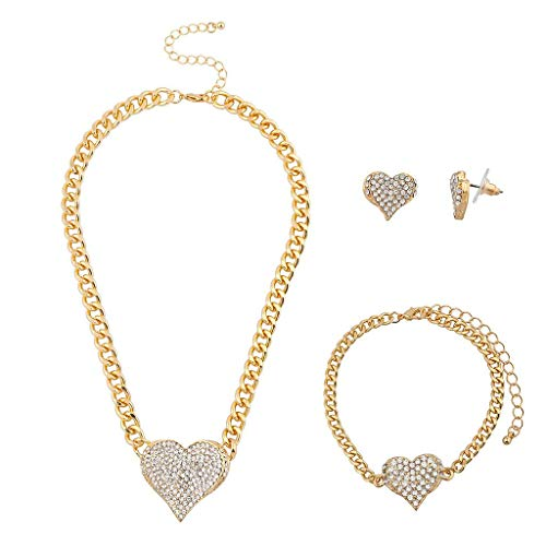 Lux Accessories Gold Tone Bling Heart Chain Earring Bracelet Necklace Set (3PCS)