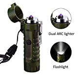 SYLHLW Flashlight Lighter, Dual Arc Plasma Lighter Waterproof Electric Lighter USB Rechargeable Windproof Flameless Lighter for Indoor Outdoor Camping Hiking Adventure Survival Grilling BBQ